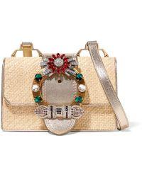 Miu Miu - Miu Lady Embellished Raffia And Textured-leather Shoulder Bag - Lyst