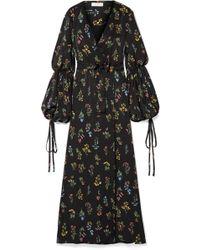 Caroline Constas - Doria Floral-print Sateen Wrap Maxi Dress - Lyst