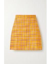 Gucci Fancy Tweed Damier A-line Mini Skirt - Yellow