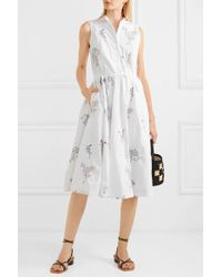 J.Crew Maison Embellished Embroidered Cotton-poplin Midi Dress - White