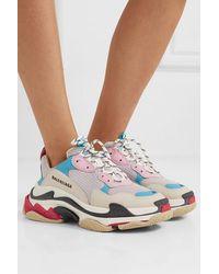 Balenciaga Sneakers Triple S aus weiß, blauem und rosa Harz und Leder