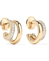 Pomellato - 18-karat Rose Gold Diamond Hoop Earrings Gold One Size - Lyst