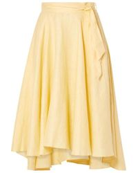 Miguelina Gale Linen Midi Skirt - Yellow