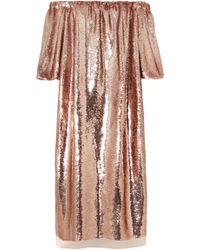 Ulla Johnson - Fox Off-the-shoulder Sequined Tulle Midi Dress - Lyst