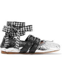 Miu Miu - Lace-up Metallic Leather Ballet Flats - Lyst