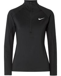 Nike - Pro Warm Mesh-trimmed Stretch-jersey Top - Lyst