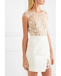 Rime Arodaky Eleonora Embroidered Tulle And Crepe Mini Dress - White
