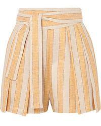 Three Graces London Jola Metallic Striped Linen-blend Voile Shorts - Yellow