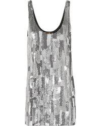 Saint Laurent - Sequined Silk-georgette Mini Dress - Lyst