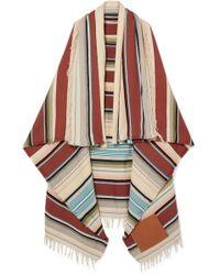Loewe - Leather-appliquéd Striped Wool-blend Scarf - Lyst