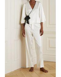 Fleur du Mal Pantalon De Pyjama En Charmeuse De Soie Mélangée À Passepoils - Blanc