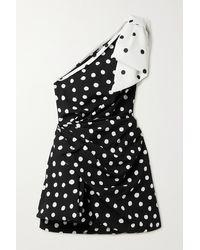 Saint Laurent Mini-robe Asymétrique En Crêpe À Pois, À Drapé Et À Nœud - Noir