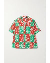 RIXO London Rickie Hemd Aus Bedruckter Seide - Grün