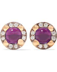 Pomellato - M'ama Non M'ama 18-karat Rose Gold, Amethyst And Diamond Earrings - Lyst