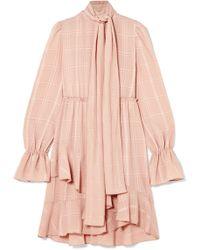 See By Chloé - Pussy-bow Asymmetric Plissé-crepe Dress - Lyst