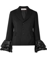 Comme des Garçons - Ruffled Satin-trimmed Wool And Mohair-blend Jacket - Lyst