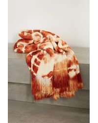 Alanui Piedras Rojas Fringed Tie-dyed Cable-knit Wool Blanket - Red