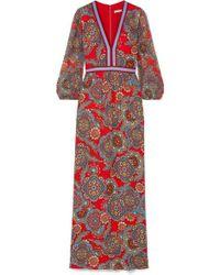 Alice + Olivia Jaida Printed Crepe And Plissé-chiffon Maxi Dress - Red