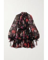 Ralph & Russo Velvet-trimmed Tiered Floral-print Silk-chiffon Mini Dress - Black