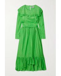 Preen By Thornton Bregazzi Iris Belted Ruffled Satin-jacquard Midi Dress - Green