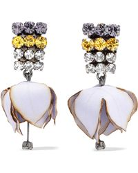 Marni - Gunmetal-tone, Poplin And Crystal Clip Earrings - Lyst