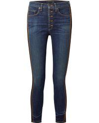 Veronica Beard - Debbie Grosgrain-trimmed Cropped High-rise Skinny Jeans - Lyst