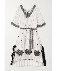 Eres Clara Tasselled Embroidered Striped Linen And Cotton-blend Kaftan - White