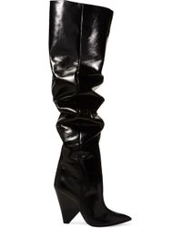 Saint Laurent - Niki Glossed-leather Over-the-knee Boots - Lyst