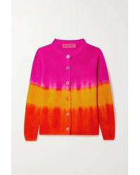 The Elder Statesman Tie-dyed Ribbed Cashmere Cardigan - Multicolour