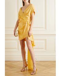 Michelle Mason Mini-robe Drapée Effet Portefeuille En Satin De Soie - Jaune