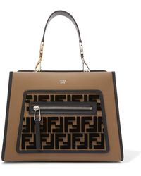 Fendi - Runaway Small Flocked Leather Tote - Lyst