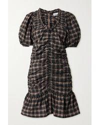Ganni Mini-robe En Crépon De Coton Biologique Mélangé À Carreaux, Fronces Et Volants - Noir