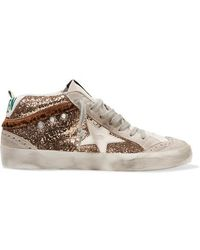 Golden Goose Deluxe Brand Mid Star Sneakers Aus Glitter-leder Und Veloursleder In Distressed-optik - Mettallic