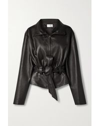 The Row Ramira Belted Leather Jacket - Black