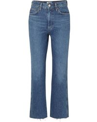Agolde Pinch Waist Cropped Organic High-rise Flared Jeans - Blue