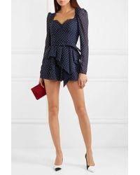 Self-Portrait Belted Lace-trimmed Fil Coupé Crepe Playsuit - Blue