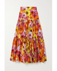 Dolce & Gabbana Pop Tiered Floral-print Cotton-poplin Midi Skirt - Orange
