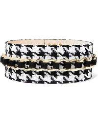 Balmain - Chain-embellished Houndstooth Tweed And Suede Waist Belt - Lyst