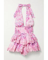 LoveShackFancy Deanna Neckholder-minikleid Aus Baumwoll-voile Mit Blumenprint Und Lochstickerei - Pink