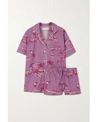 Desmond & Dempsey Pyjama En Voile De Coton Imprimé Bocas - Violet