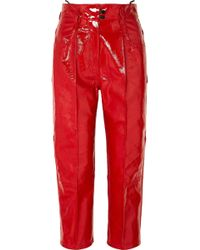 Petar Petrov - Cropped Patent-leather Straight-leg Pants - Lyst