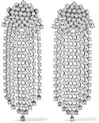 Kenneth Jay Lane | Gunmetal-plated Crystal Clip Earrings | Lyst