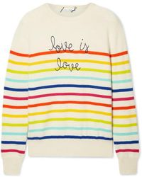 5f1a278d7d1 Love Is Love Embroidered Striped Cashmere Jumper - Yellow