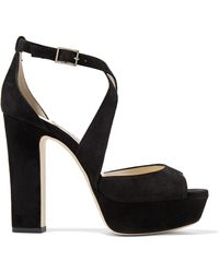Jimmy Choo - April 120 Suede Platform Sandals - Lyst