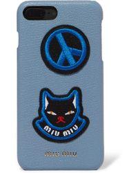 Miu Miu - Appliquéd Textured-leather Iphone 7 Plus Case - Lyst