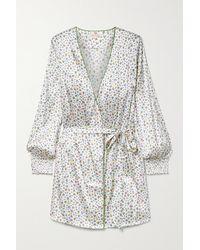 Morgan Lane Larsen Belted Floral-print Silk-blend Satin Robe - White