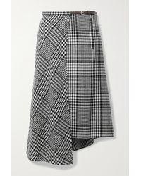 Tibi + Net Sustain Sterling Leather-trimmed Checked Wool-blend Wrap Midi Skirt - Black