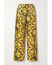 Versace Printed Silk-twill Pajama Pants - Black