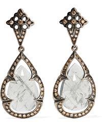 Loree Rodkin | 18-karat Rhodium White Gold, Sapphire And Diamond Earrings | Lyst