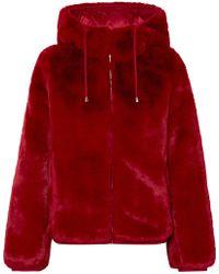 Maje - Hooded Faux Fur Jacket - Lyst